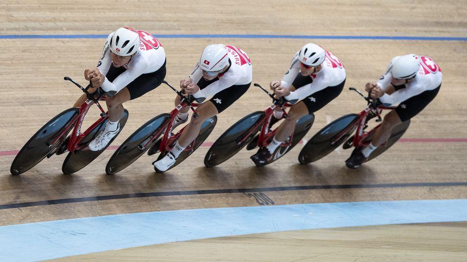 """Le """"quatre"""" helvétique a pris la 8e place de la qualification aux Championnats du monde à Berlin [Peter Schneider - Keystone]"""
