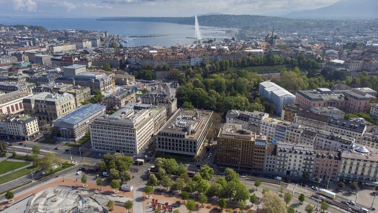 Une vue aérienne de la ville de Genève. [Leandre Duggan - Keystone]