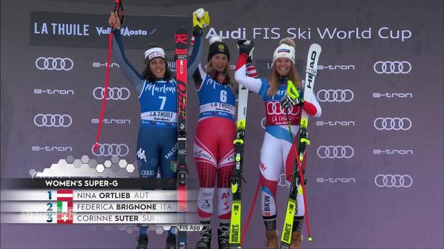Super G dames, La Thuile (ITA): victoire de Nina Ortlieb (AUT), 3e place pour Corinne Suter (SUI) [RTS]