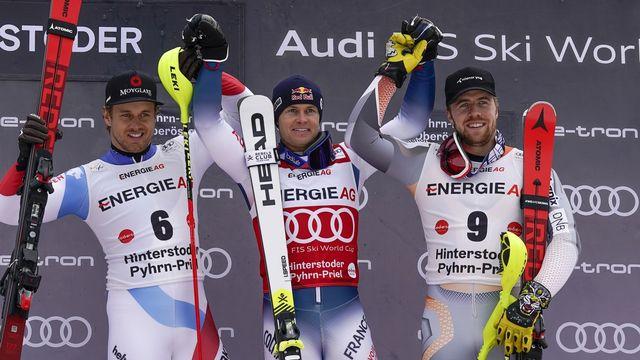 Caviezel a dû s'avouer vaincu face à Pinturault, un spécialiste du slalom. [AP Photo/Giovanni Auletta - Keystone]