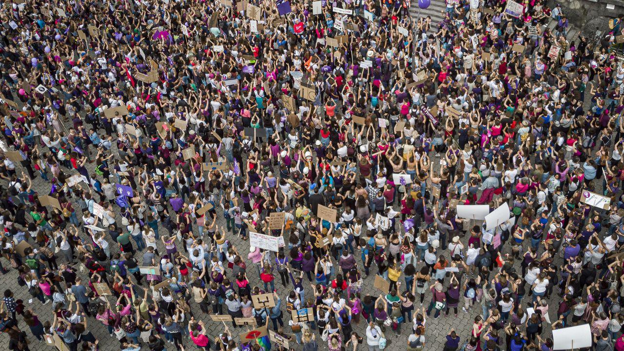 """Une """"Place du 14-Juin"""", date de l'inscription de l'égalité femmes-hommes dans la Constitution, va voir le jour au centre de Lausanne. [Valentin Flauraud - Keystone ]"""
