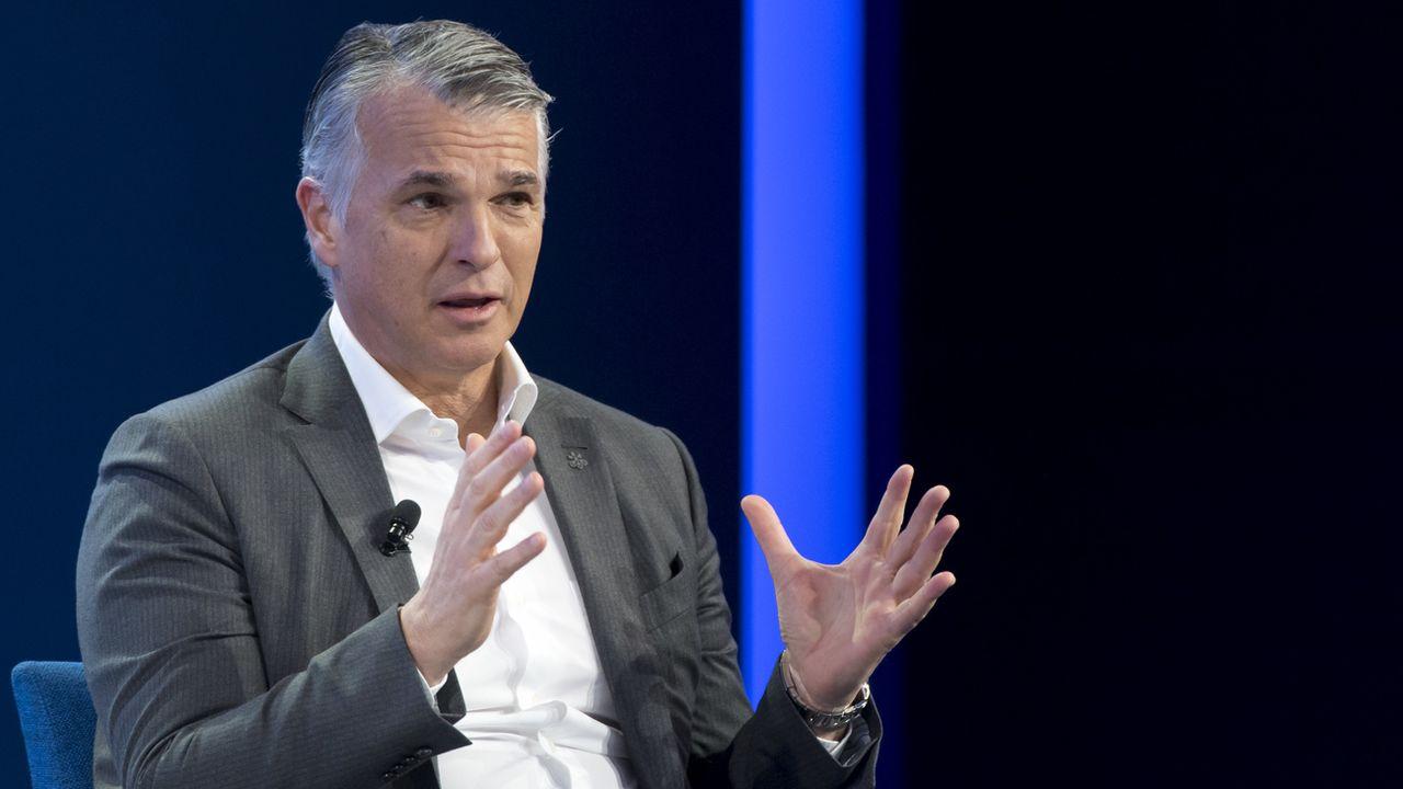 L'ex-CEO d'UBS, Sergio Ermotti, va présider Swiss Re. Image datant de janvier 2019. [Laurent Gillieron - Keystone]