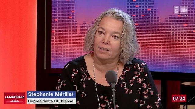 Stéphanie Mérillat, co-présidente du HC Bienne à La Matinale. [RTS]