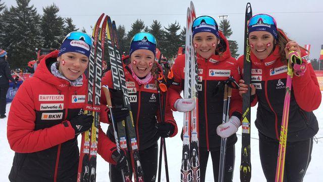 Nadja Kälin, Siri Wigger, Anja Weber et Anja Lozza ont réussi une sacrée performance. [Twitter/SwissSki - SRI]