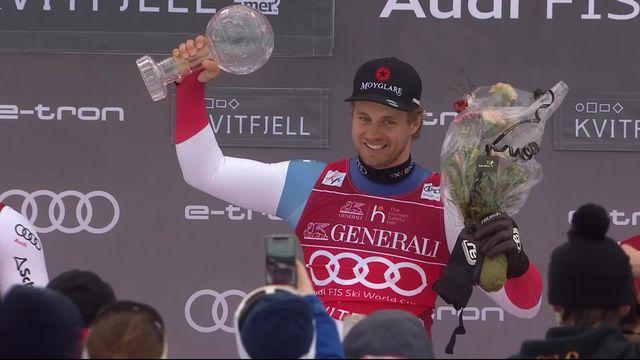 Kvitfjell (NOR), super G messieurs: Mauro Caviezel (SUI) soulève le globe de la spécialité [RTS]