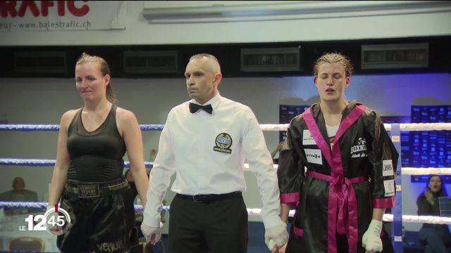 Ornella Domini Genevoise de 31 ans, championne d'Europe en catégorie welters se mesurait hier soir à une adversaire hongroise. [RTS]