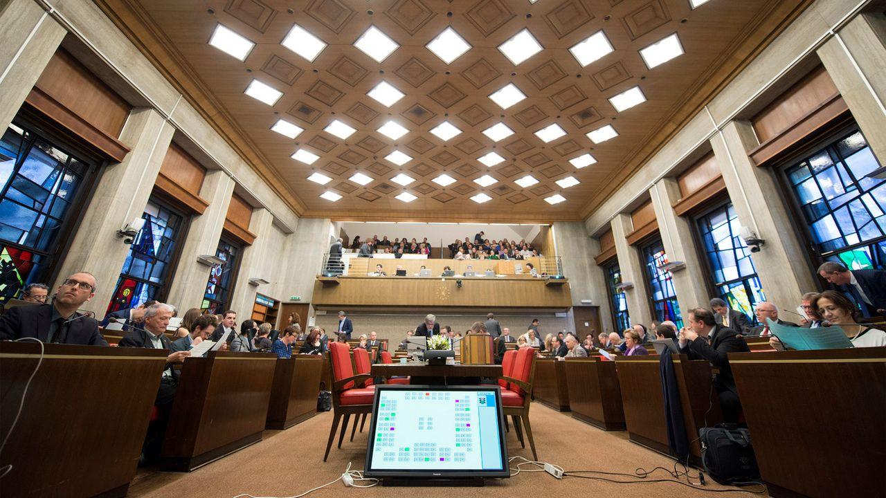 La salle du Grand Conseil genevois photographié ici le 25 février 2016. [Martial Trezzini - Keystone]