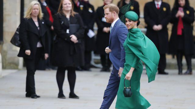Le prince Harry et son épouse Meghan, duchesse de Sussex, à leur arrivée à l'arrivée à l'abbaye de Westminster à Londres, le 9 mars 2020. [Frank Augstein - Keystone]