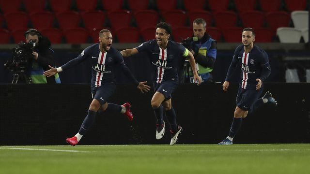 Neymar a ouvert la marque. Marquinhos et Sarabia savourent. Le PSG a vaincu le signe indien. [UEFA]