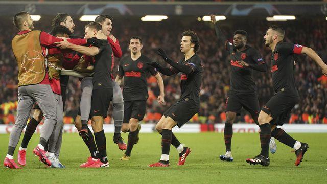 Marcos Llorente, le buteur de l'Atlético, et ses partenaires fêtent leur qualification. [Jon Super - AP]