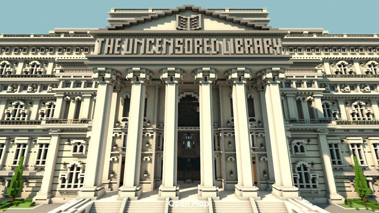 L'installation virtuelle de RSF prend l'apparence d'un grand bâtiment néoclassique. [RSF]