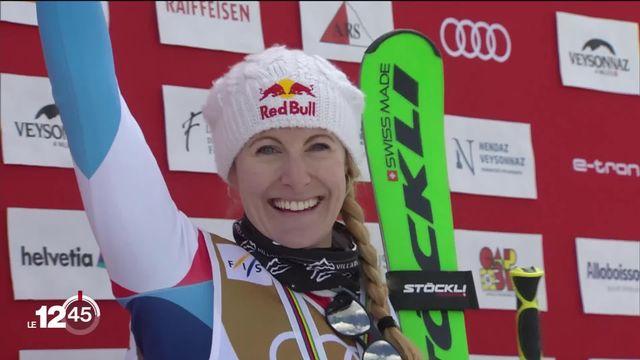 La vaudoise Fanny Smith tentera de décrocher un nouveau titre en coupe de monde de skicross samedi à Veysonnaz. [RTS]