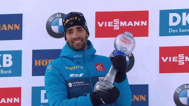 Kontiolahti (FIN), poursuite messieurs: Martin Fourcade (FRA) et son globe du sprint [RTS]