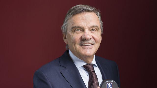 René Fasel achèvera son mandat de patron du hockey mondial cette année. [Gaetan Bally - Keystone]