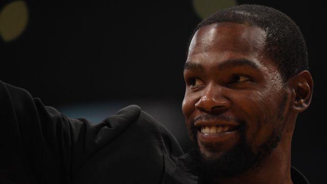 Blessé, Kevin Durant n'a pas encore pu jouer cette saison pour sa nouvelle équipe des Nets de Brooklyn. [Harry How - AFP]