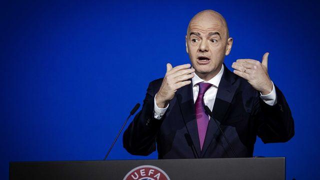 Le président de la FIFA Gianni Infantino lors du meeting annuel de l'UEFA le 3 mars 2020. [Robin van Lonkhuijsen - Keystone]