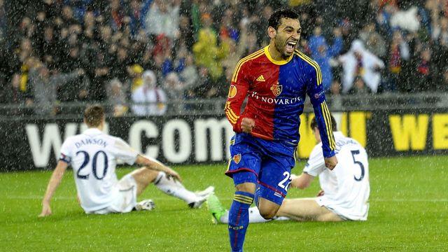 Mohamed Salah, buteur face à Tottenham, en quart retour de l'Europa League. [Walter Bieri  - Keystone]