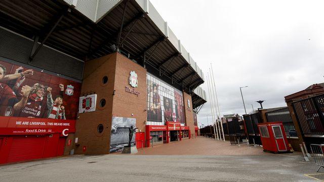 Anfield Road, le stade de Liverpool, restera encore vide jusqu'au 30 avril. [Peter Powell - Keystone]