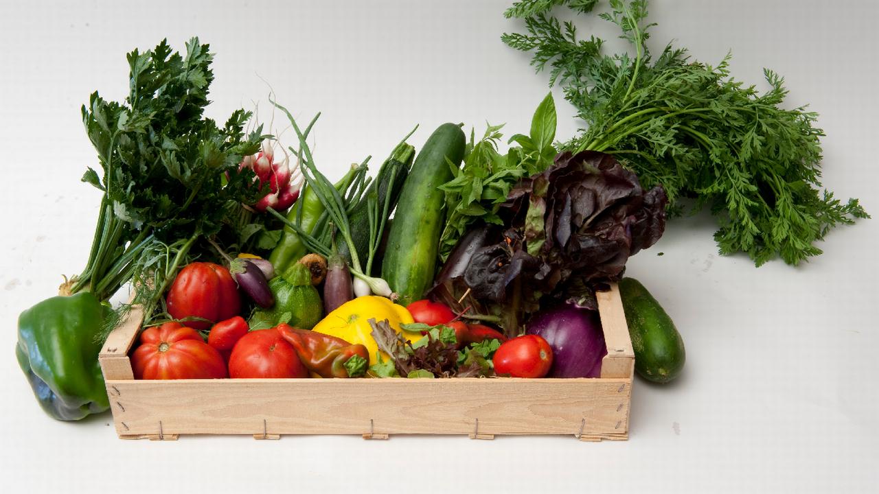 Un panier de légumes pour deux personnes, vendu 22 francs, sur le site internet du marché cuendet, à Bremblens (VD). [Marché Cuendet]