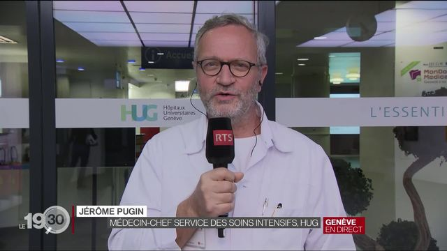 Le Prof. Jérôme Pugin, médecin-chef du Service des soins intensifs (HUG) fait le point sur la situation. [RTS]