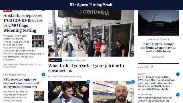 La Une du site du Sydney Morning Herald, lundi 23.03.2020. [DR]