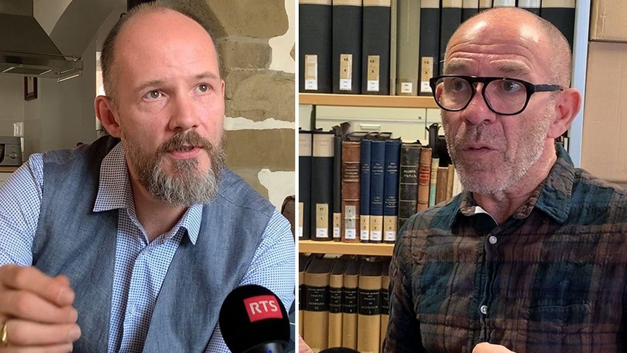 Les historiens Christophe Vuilleumier et Vincent Barras. [Mathieu Henderson - RTS]