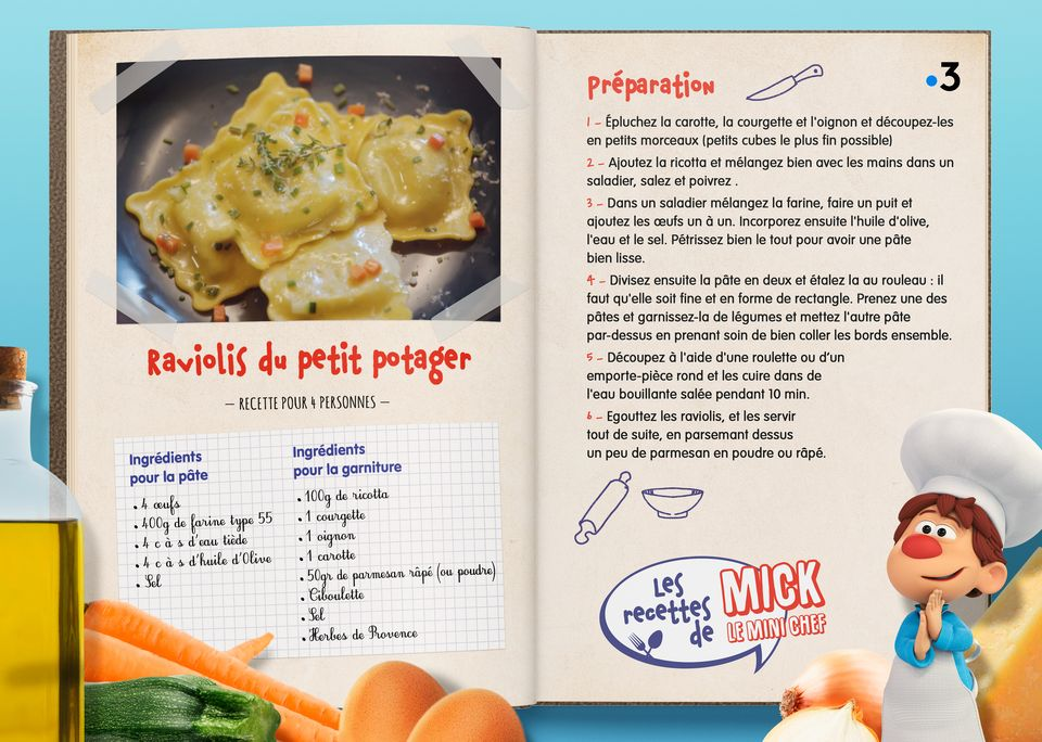 La recette des Raviolis du petit potager. [Studio Redfrog - AnimationsFabrik]