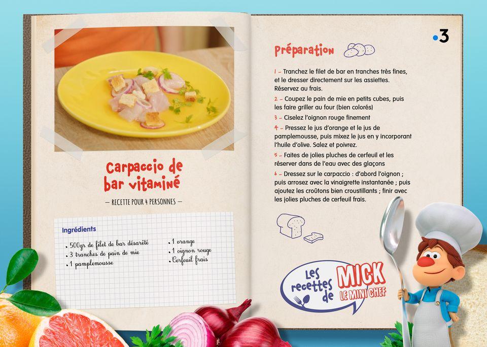 La recette du Carpaccio de Bar vitaminé. [Studio Redfrog - AnimationsFabrik]