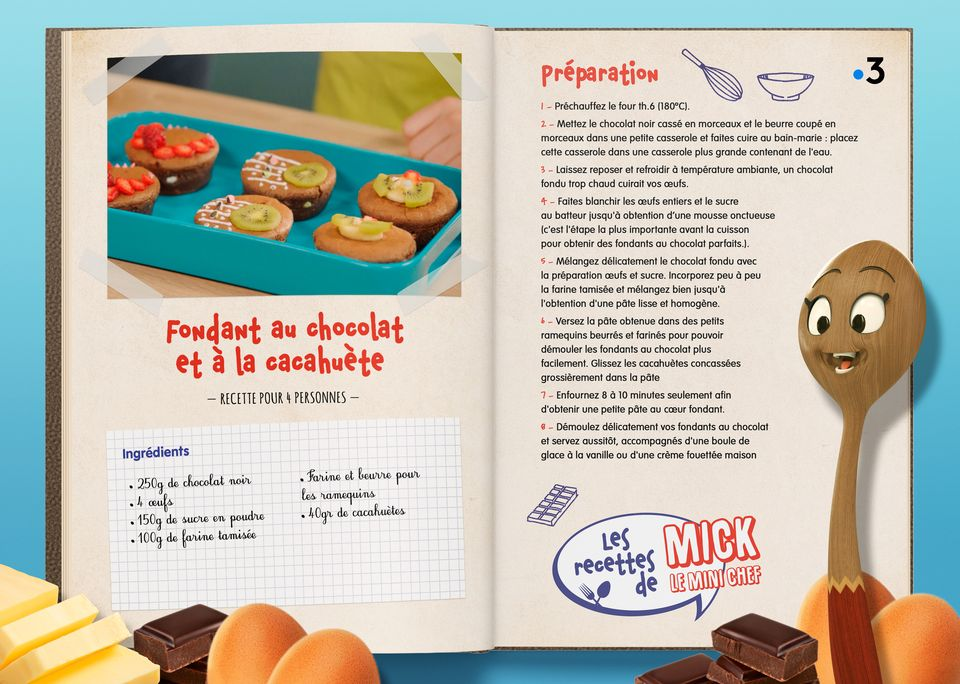 La recette du Fondant Choco. [Studio Redfrog - AnimationsFabrik]