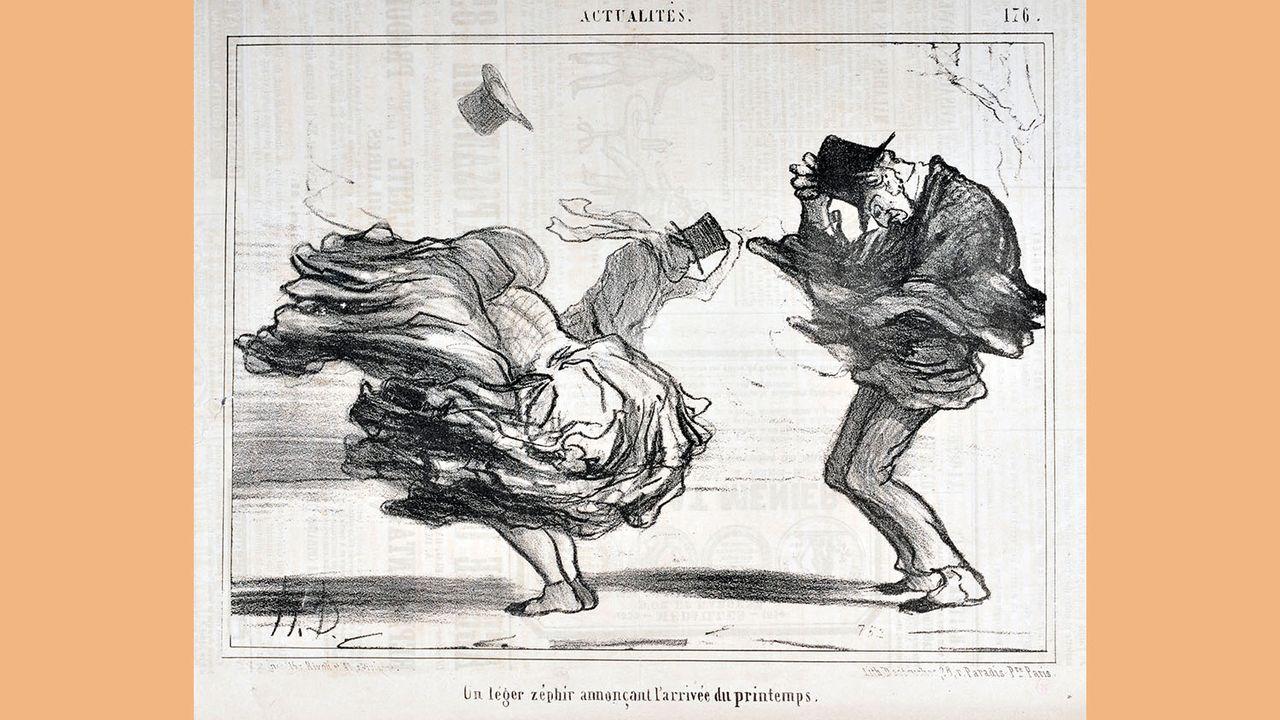"""La gravure d'Honoré Daumier """"Un léger zéphir annonçant l'arrivée du printemps"""" figure parmi les oeuvres de la collection de Curt Glaser acquises par le Kunstmuseum en 1933. [Jean Bernard - Leemage/AFP]"""