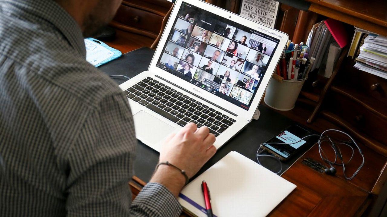 L'application Zoom permet de faire des réunions en visioconférence. [Nicolas Guyonnet / Hans Lucas - Hans Lucas via AFP]