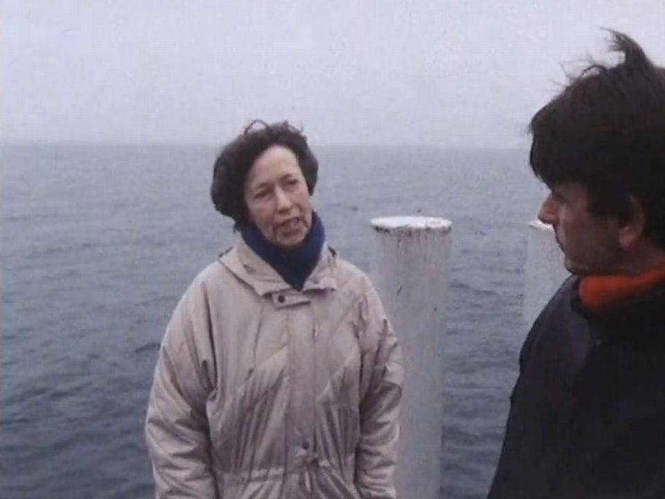 Yvette Z'Graggen en compagnie du journaliste Jean-Pierre Pastori en 1986 [RTS]