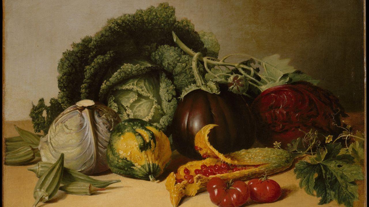 """Still Life: Balsam Apple and Vegetables"". James Peale, vers 1820. [Tableau de James Pealeca - Metropolitan Museum of Art]"