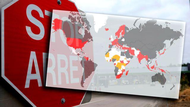Une carte montre l'étendue de la fermeture des frontières dans le monde pour lutter contre la propagation du Coronavirus dans le monde. [Mouna Hussain / Valentin Tombez - RTS]