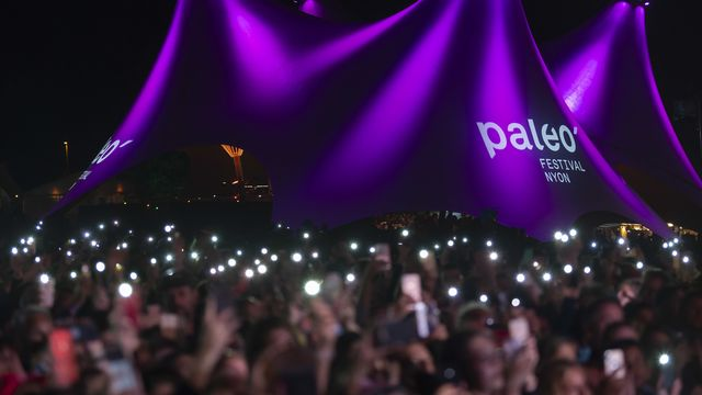 Des festivaliers lors du concert de Patrick Bruel au Paléo Festival de Nyon en 2019. [Martial Trezzini - Keystone]
