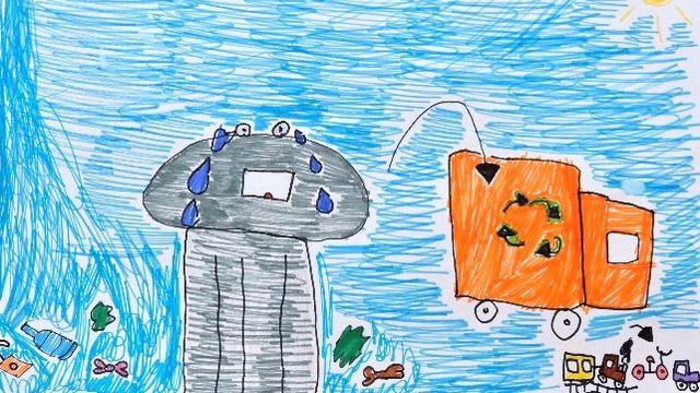 """""""Les poubelles"""" dessin réalisé par Alice. [Alice - RTS]"""