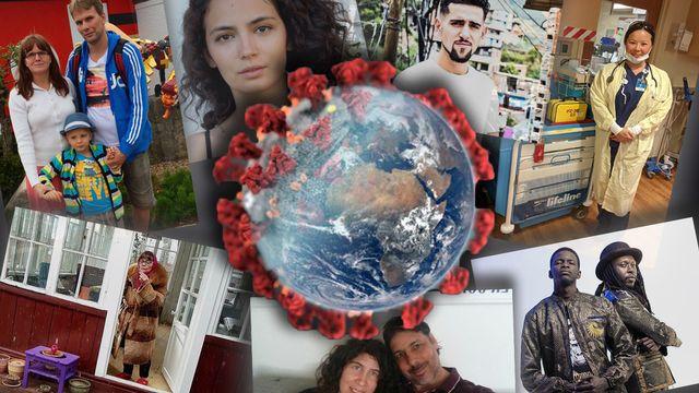 Des personnes témoignent à travers la planète sur la crise du coronavirus. [Mouna Hussain - RTS]