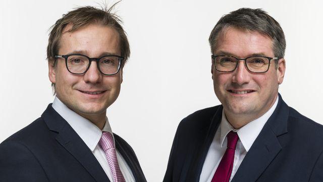 Philippe Nantermod et Christian Levrat. [Alessandro della Valle - Keystone]