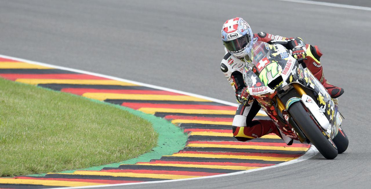 Dominique Aegerter lors du Grand Prix d'Allemagne, le 2 juillet 2017. [Jens Meyer - Keystone]