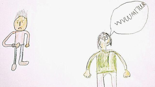 """""""Les mots ne sortent pas bien de la bouche"""" dessin réalisé par Matthieu. [Matthieu - RTS]"""