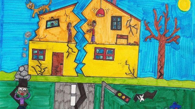 """""""Les tremblements de terre"""" dessin réalisé par Léna. [Léna - RTS]"""