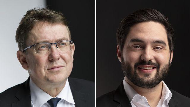 Les conseillers nationaux Albert Rösti et Cédric Wermuth. [Gaëtan Bally - Keystone]