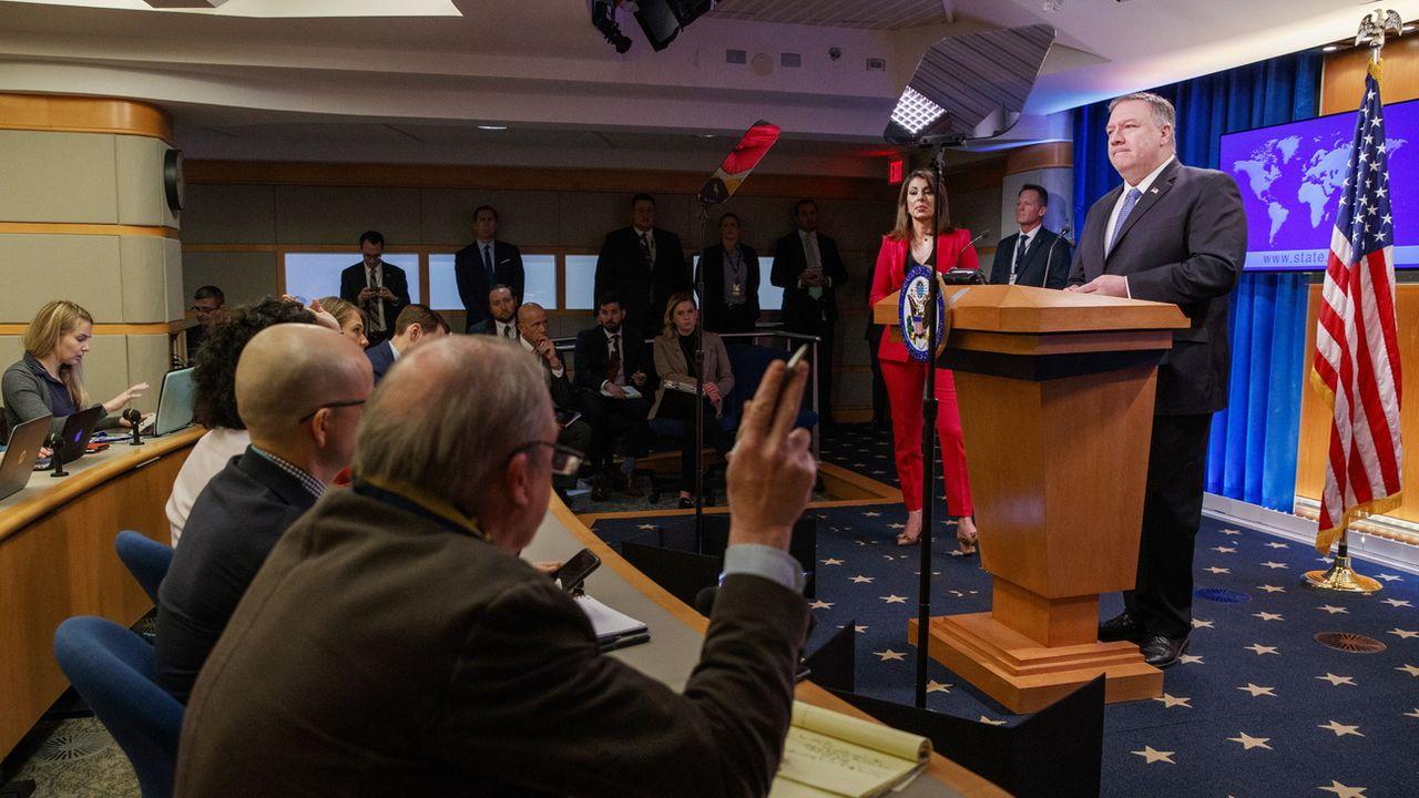Le secrétaire d'Etat américain Mike Pompeo, en conférence de presse le 5 mars 2020 à Washington. [Shawn Thew - EPA/Keystone]