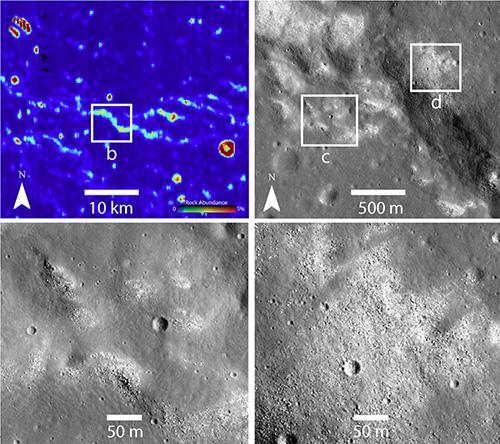 Images taken by NASA's Lunar Reconnaissance Orbiter (LRO) probe.