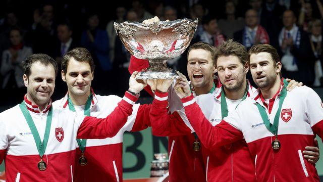 L'unique sacre suisse en Coupe Davis. C'était en 2014 et tout le monde s'en souvient comme si c'était hier. [Salvatore Di Nolfi - Keystone]