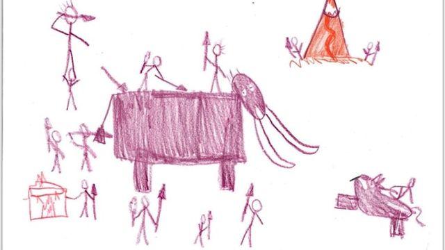 Que sait-on de nos ancêtres de la préhistoire?, un dessin réalisé par Bart. [Bart - RTS]