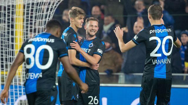 Les joueurs du FC Bruges obtiennent le titre de champion de Belgique. [Kurt Desplanter - AFP]