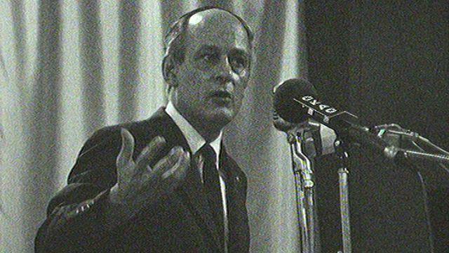 René Lévesque, leader du Parti Québécois, en 1969. [RTS]