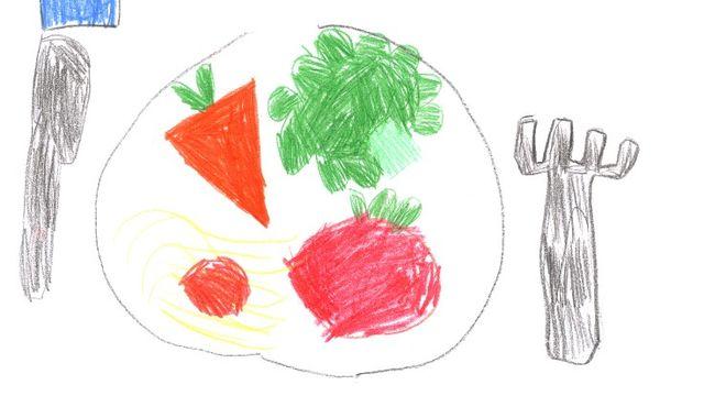 Dans mon assiette, je n'aime pas tout! Dessin réalisé par Sarah. [Sarah - RTS]