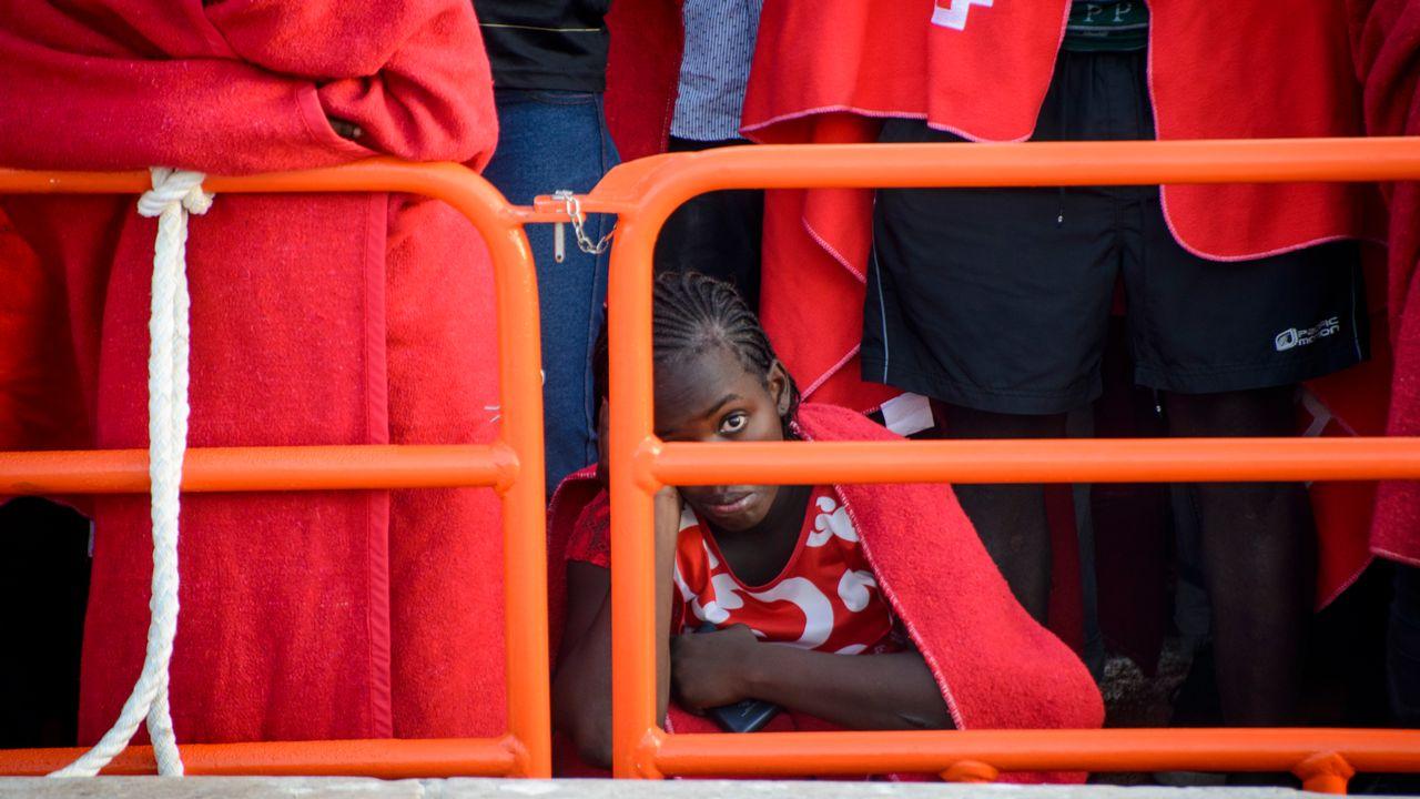 Une femme migrante sauvée par un navire espagnol en méditerranée, 2018. [Guillaume Pinon - AFP]